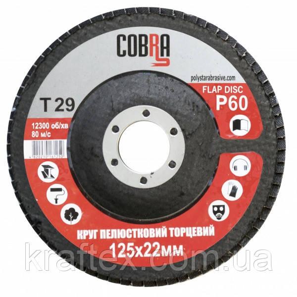 Круг лепестковый торцевой КЛТ COBRA Т29, 125х22 мм, P60