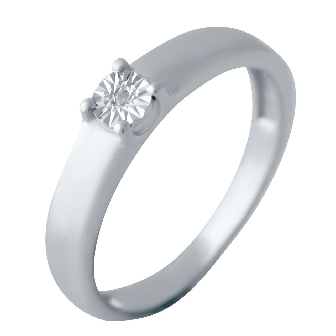 Серебряное кольцо DreamJewelry с натуральными бриллиантом 0.009ct (2043621) 17.5 размер