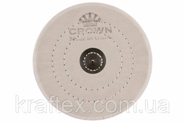 Круг муслиновый CROWN белый d-150мм, 50 слоев (с кож. пятаком), фото 2