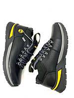 Мужские зимние кроссовки ботинки кожаные натуральный мех черные в спортивном стиле