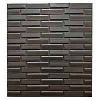 Листовые 3D панели для декора стен -под плитку кофейные (Самоклеющийся)
