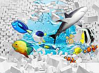 Фотообои на флизелиновой основе - Рыбки с кирпичной стеной 3D (ширина рулона -1,03)