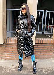 Женский пуховик стеганое пальто из эко-кожи с поясом (в расцветках)