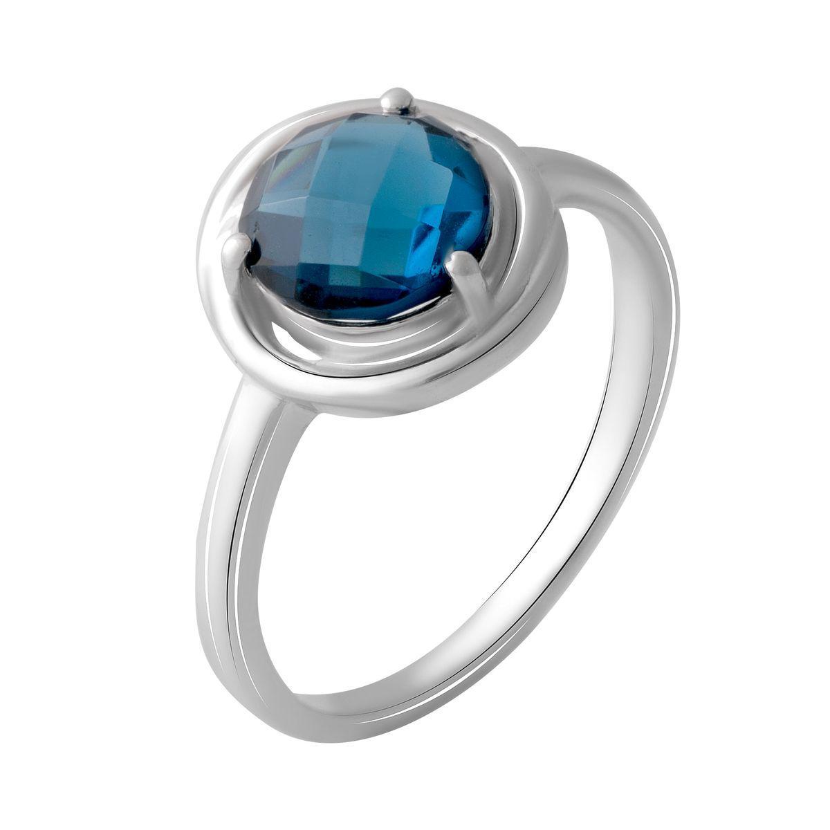 Серебряное кольцо DreamJewelry с натуральным топазом Лондон Блю 1.525ct (2049043) 18 размер