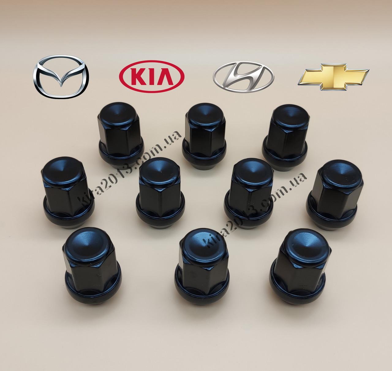 Черные гайки М12х1,5 под ключ 19мм, высота 34мм для литых дисков Mazda, Kia, Hyundai, Chevrolet, Toyota