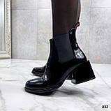 Женские ДЕМИ / осенние ботильоны черные на каблуке 6 см эко лак, фото 7