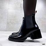 Женские ДЕМИ / осенние ботильоны черные на каблуке 6 см эко лак, фото 5
