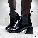 Женские ДЕМИ / осенние ботильоны черные на каблуке 6 см эко лак, фото 2