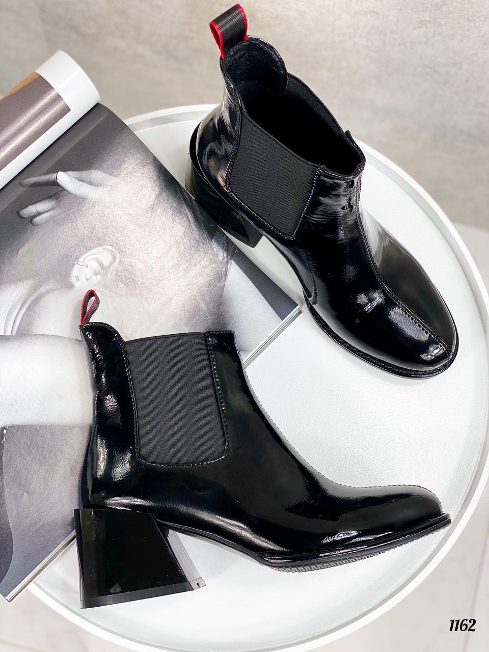 Женские ДЕМИ / осенние ботильоны черные на каблуке 6 см эко лак