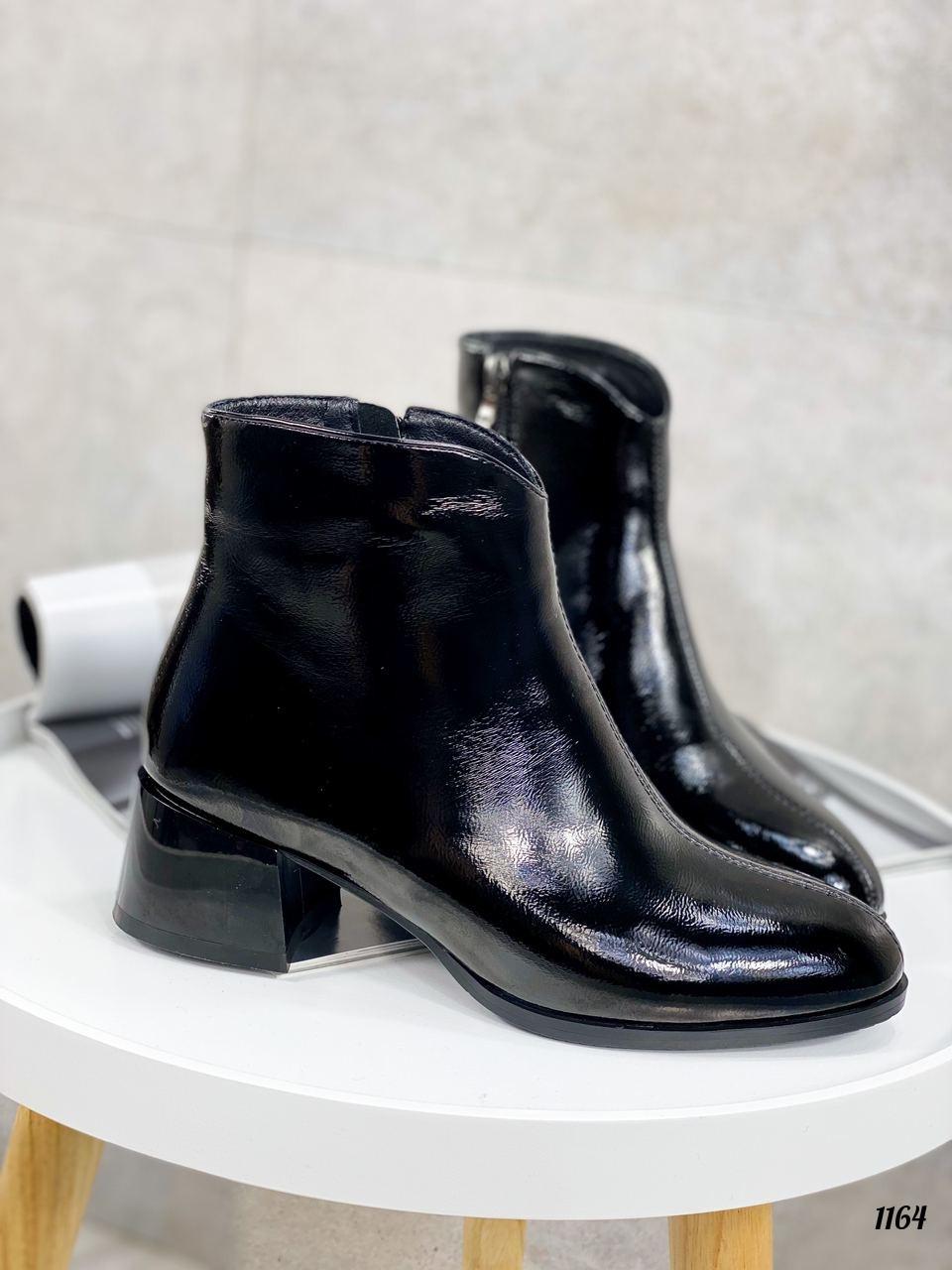 Женские ДЕМИ / осенние ботильоны черные на каблуке 5 см эко лак