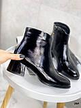 Женские ДЕМИ / осенние ботильоны черные на каблуке 5 см эко лак, фото 2