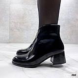 Женские ДЕМИ / осенние ботильоны черные на каблуке 5 см эко лак, фото 4