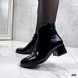 Женские ДЕМИ / осенние ботильоны черные на каблуке 5 см эко лак, фото 7