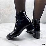 Женские ДЕМИ / осенние ботильоны черные на каблуке 5 см эко лак, фото 5