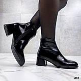 Женские ДЕМИ / осенние ботильоны черные на каблуке 5 см эко лак, фото 6