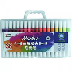 Набор двухсторонних скетч маркеров AIHAO AH515-36, 36 шт., треугольные