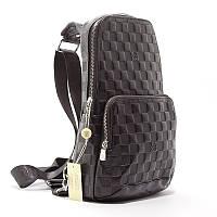 Мужская черная сумка-рюкзак слинг 41716 банан на одно плечо в клетку