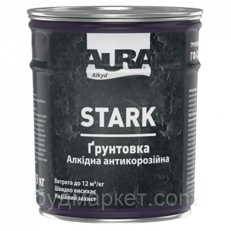 Грунтовка ГФ-021 AURA алкидная №87 (красно-коричневая), 0,9 кг