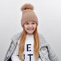 Детская шапка NordNeo N-5543 с бубоном беж