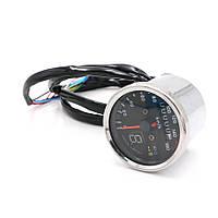 Аналоговый спидометр (одометр) для мототехники, мото приборка, ретро спидометр c указателем передачи, фото 1