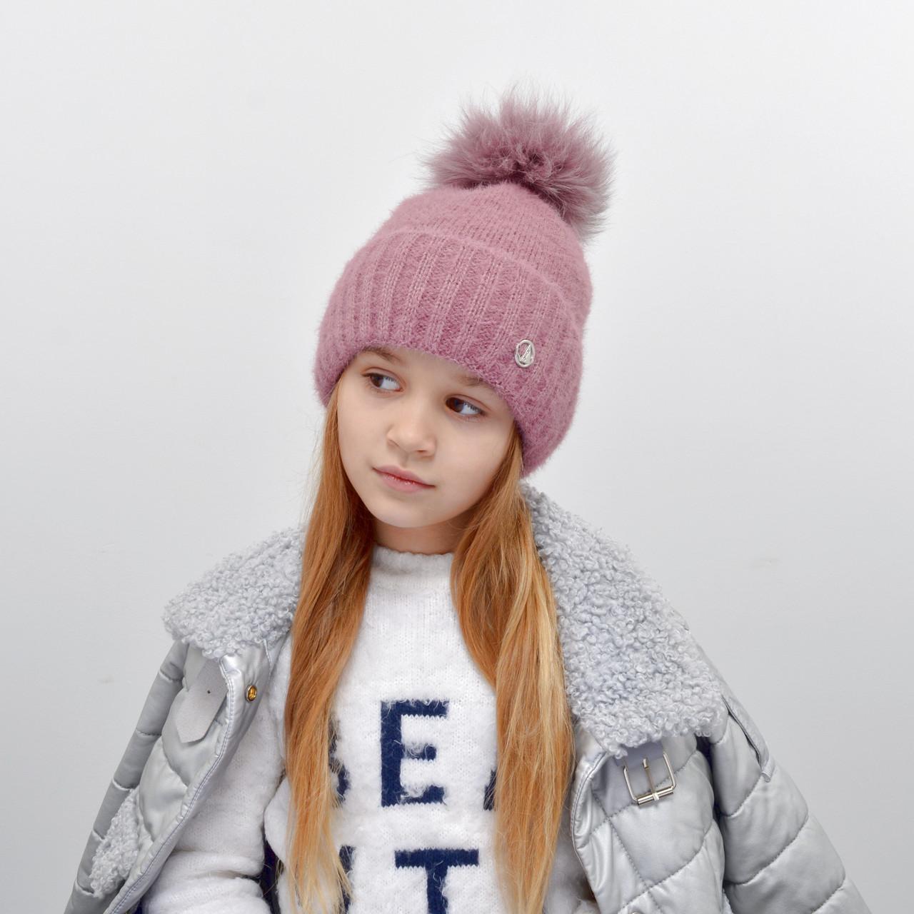 Дитяча шапка NordNeo N-5543 з бубоном пильна троянда