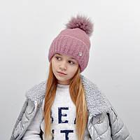 Детская шапка NordNeo N-5543 с бубоном пыльная роза