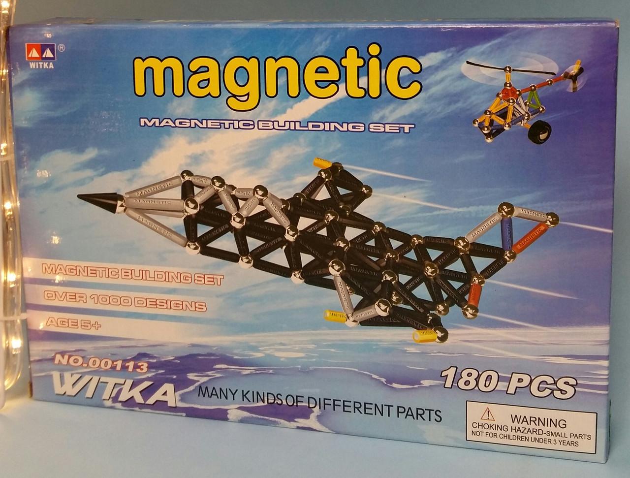 Магнитний конструктор 00113 180 деталей самолет  в кор-ке, 34,5*23,5*5 см