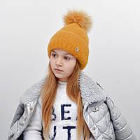 Детская шапка NordNeo N-5543 с бубоном горчица
