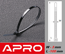 Стяжка кабельная, ультрастойкая, черная 3х100мм (уп. 100шт.)