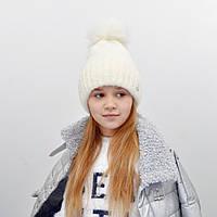 Детская шапка NordNeo N-5543 с бубоном белый