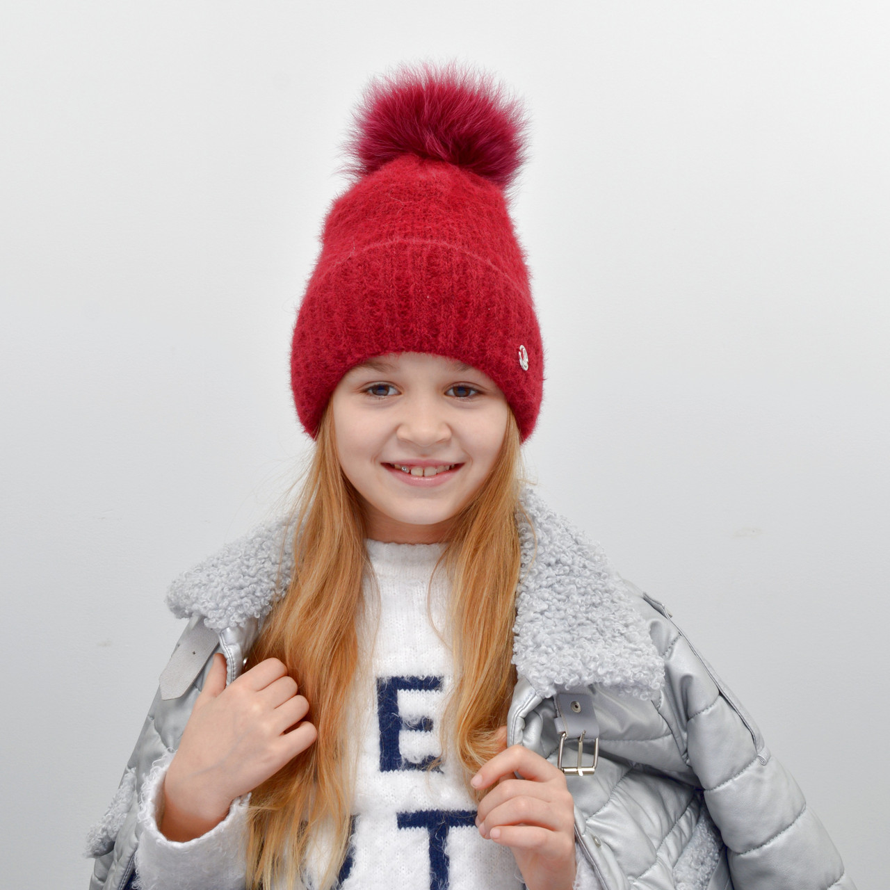Детская шапка NordNeo N-5543 с бубоном бордо