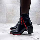 Женские ДЕМИ / осенние ботильоны черные с красным на каблуке 8 см эко кожа, фото 5