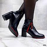 Женские ДЕМИ / осенние ботильоны черные с красным на каблуке 8 см эко кожа, фото 6