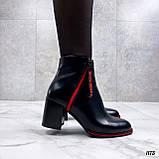 Женские ДЕМИ / осенние ботильоны черные с красным на каблуке 8 см эко кожа, фото 8