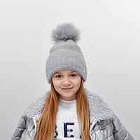 Детская шапка NordNeo N-5543 с бубоном серый
