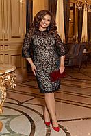 Женское вечернее ажурное платье на подкладке батал, фото 1