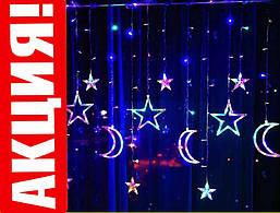 Новогодняя гирлянда фигурки, праздничная гирлянда led на окно мульти