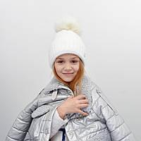 Детская шапка NordNeo N-5543 с бубоном молочный