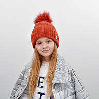 Детская шапка NordNeo N-5543 с бубоном кирпич