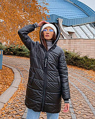 Куртка жіноча зимова NOBILITAS 42 - 52 чорна плащівка (арт. 20060)
