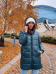 Куртка жіноча зимова батал NOBILITAS 42 - 52 зелена плащівка (арт. 20060)