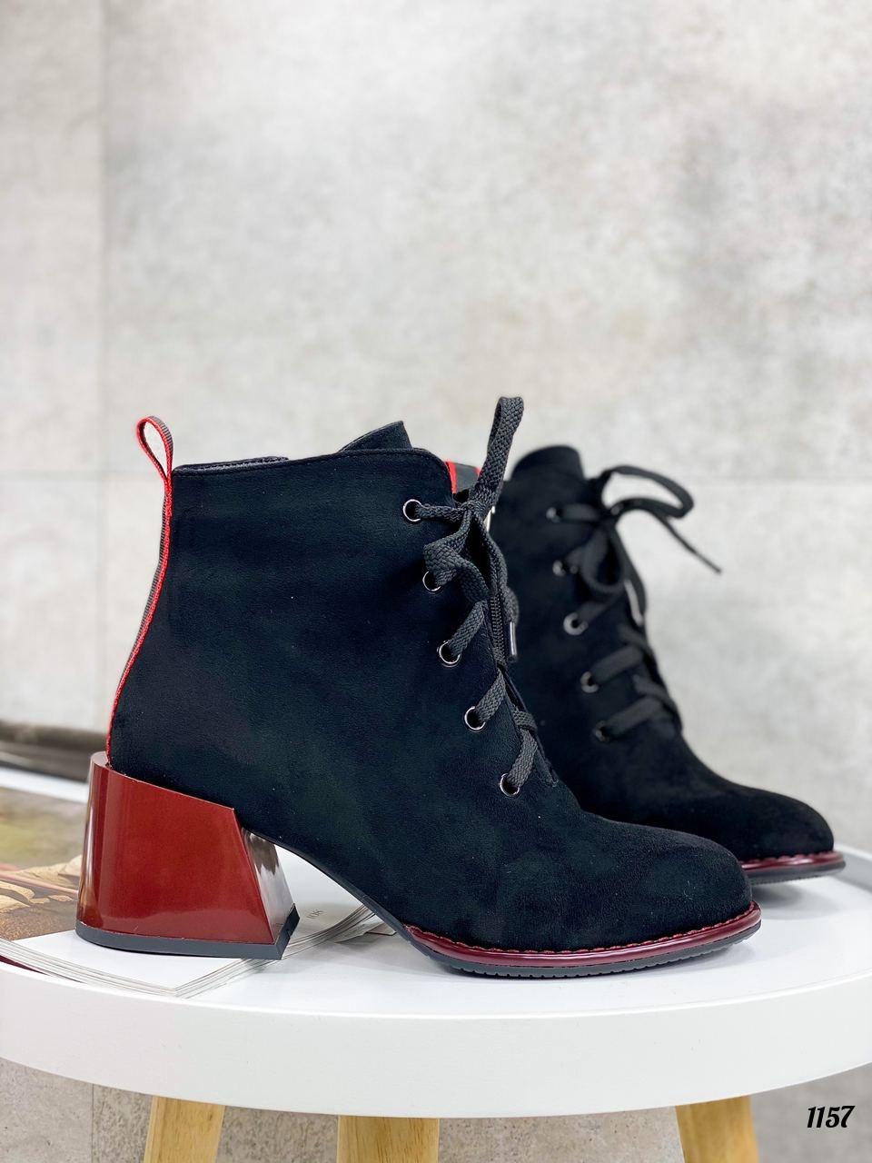 Женские ботильоны- ботинки ДЕМИ / осенние на каблуке 6 см черные с красным эко замша