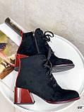 Женские ботильоны- ботинки ДЕМИ / осенние на каблуке 6 см черные с красным эко замша, фото 3