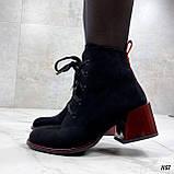 Женские ботильоны- ботинки ДЕМИ / осенние на каблуке 6 см черные с красным эко замша, фото 5