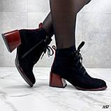 Женские ботильоны- ботинки ДЕМИ / осенние на каблуке 6 см черные с красным эко замша, фото 4