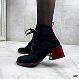 Женские ботильоны- ботинки ДЕМИ / осенние на каблуке 6 см черные с красным эко замша, фото 6