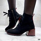 Женские ботильоны- ботинки ДЕМИ / осенние на каблуке 6 см черные с красным эко замша, фото 9