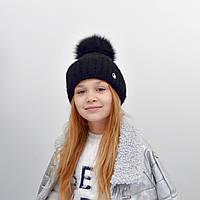 Детская шапка NordNeo N-5543 с бубоном черный
