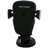 Держатель для телефона в автомобиль с беспроводной зарядкой и вакуумной присоской JPD-1801, Черный