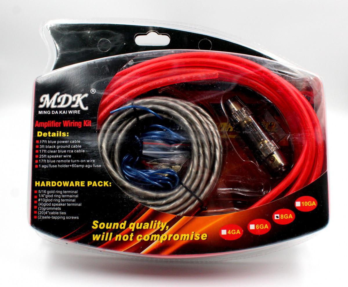 Набор проводов для установки саббуфера MDK KIT 8GA